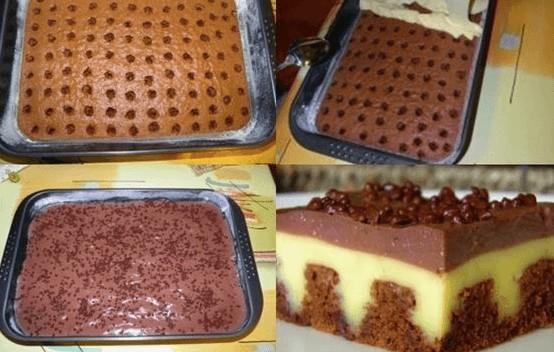 Dirkovaný pudinkový šlehačkový koláč recept
