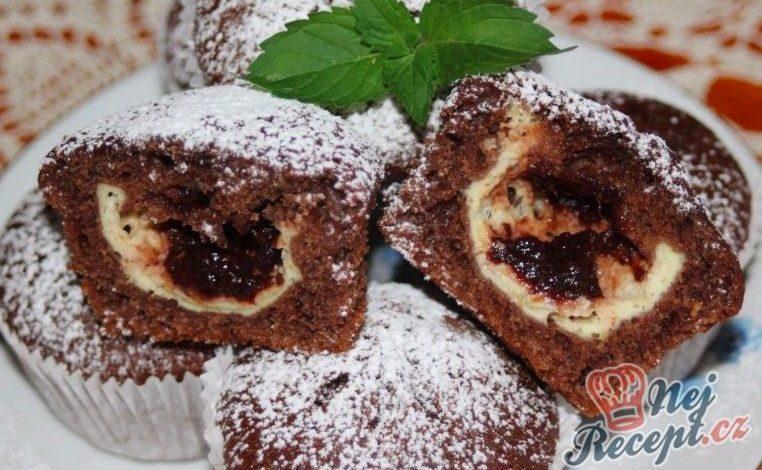 Hrníčkové muffiny s tvarohem a povidly