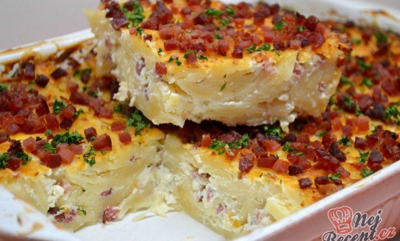 Zapékané těstoviny s tvarohem a slaninou