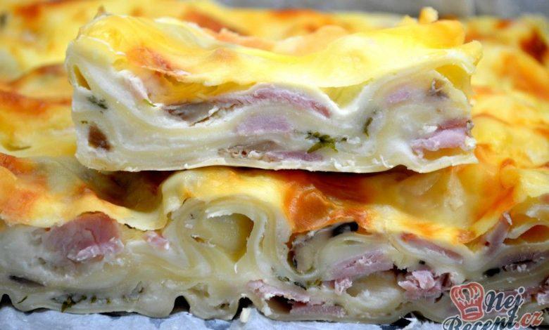 Šunkovo-sýrové lasagne s houbami