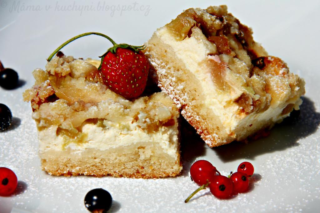 Linecký koláč s tvarohem a rebarborou (pro dospělé)
