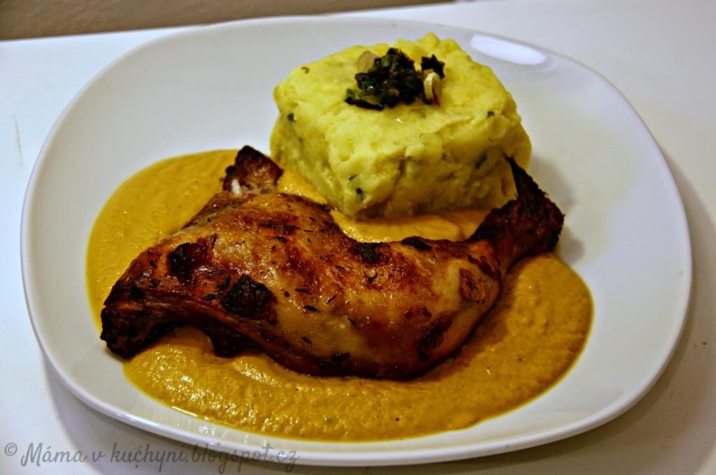 Dušená kuřecí stehna na víně (do 1 roku)