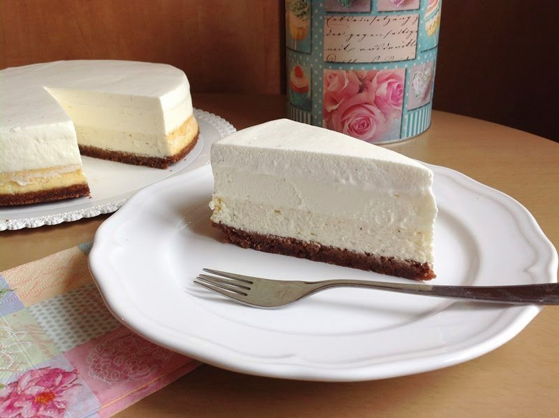 Vanilkový cheesecake s pěnou z bílé čokolády